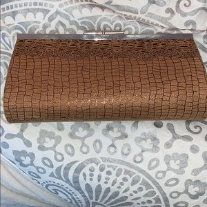 Accessories - Suede clutch with snakeskin/crocodile esq pattern